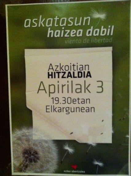 """Apirilak 3 asteartea, """"Askatasun haizea dabil"""" izenburupean hitzaldia ..."""